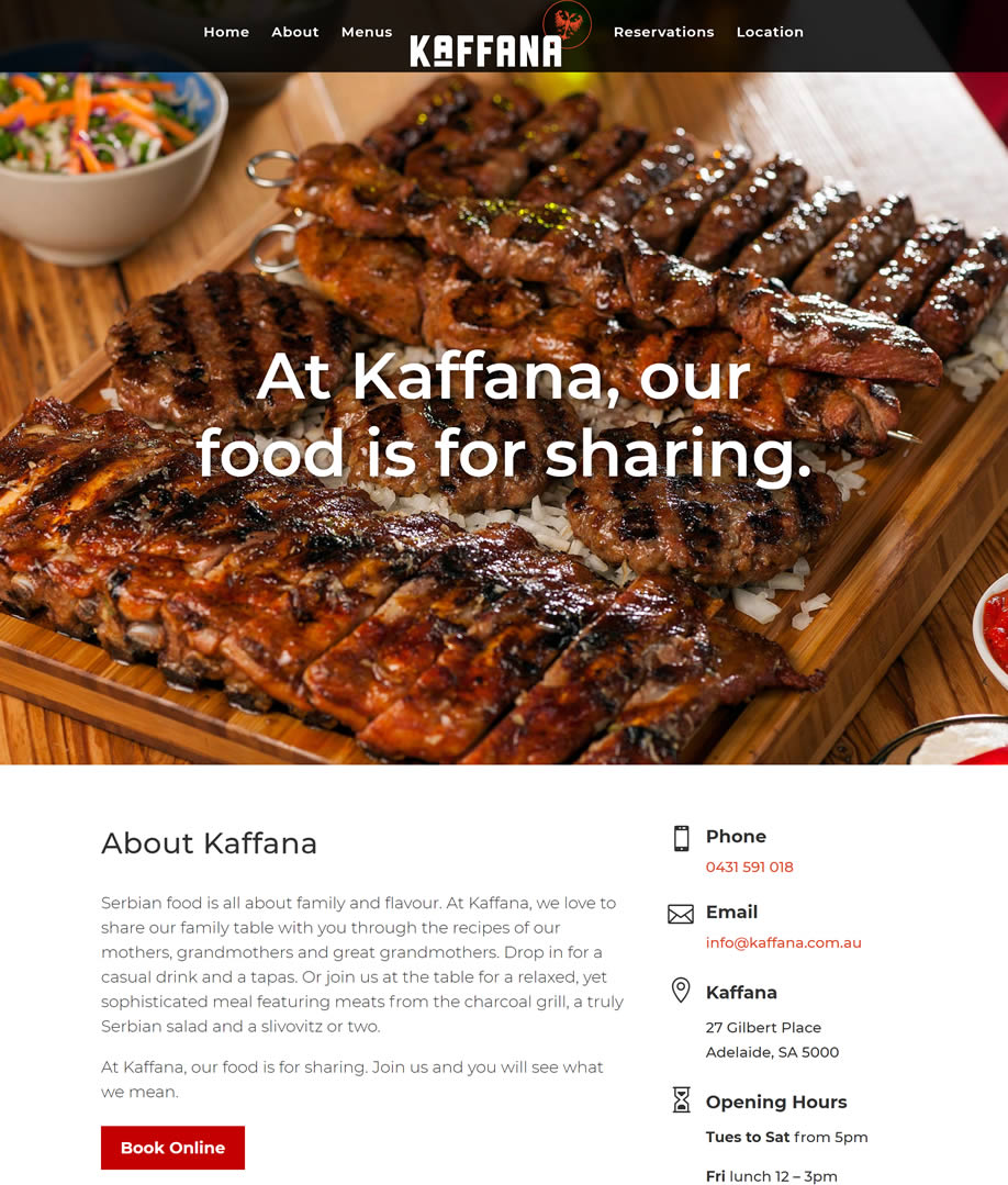 Kaffana Restaurant Website