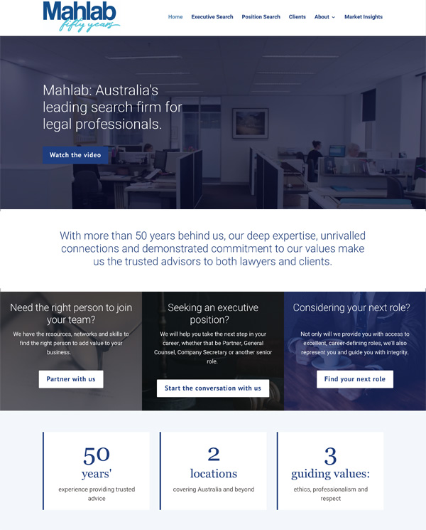 Mahlab Australia Website Design